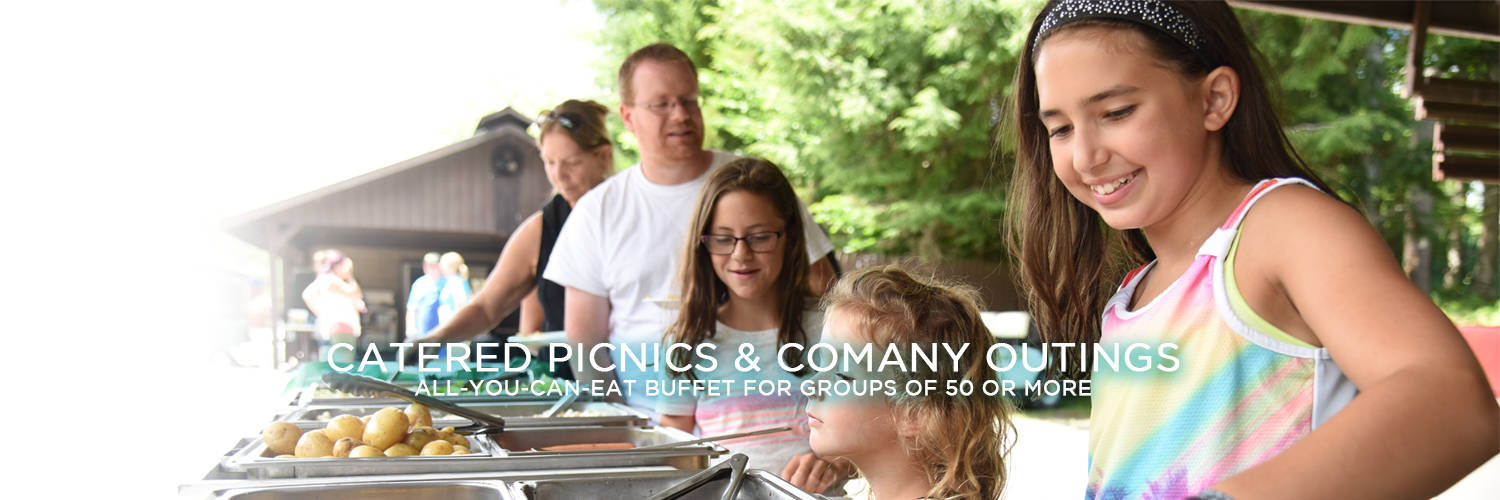 "An image of a group of 5 people, two parents and three young girls, in line getting food at a buffet. A group of people stand talking behind them under a gazebo. Centered at the bottom of the image is white text reading ""Catered Picnics & Company Outings"" with smaller white text beneath it that reads ""All-You-Can-Eat Buffet for Groups of 50 or More""."