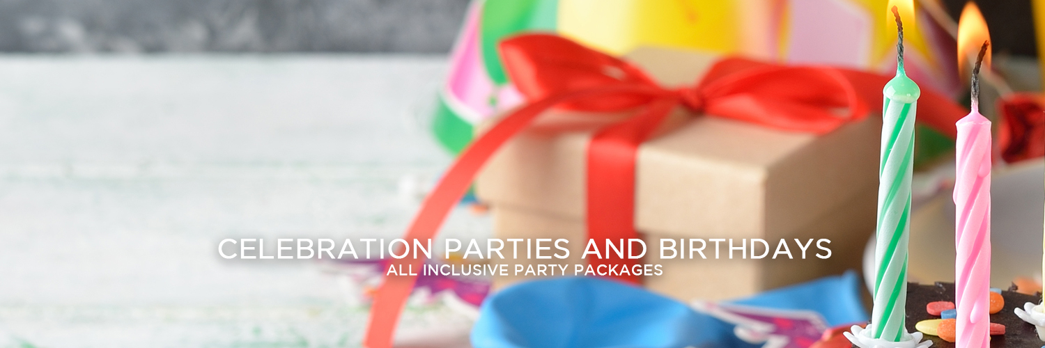 "An image of a birthday celebration set up on the right. There's a birthday cake with candles in the bottom right corner with balloons, a gift box with a red ribbon and a party hat behind it. Centered at the bottom of the image is white text reading ""Celebration Parties and Birthdays"" with smaller white text beneath it that states ""All Inclusive Party Packages""."