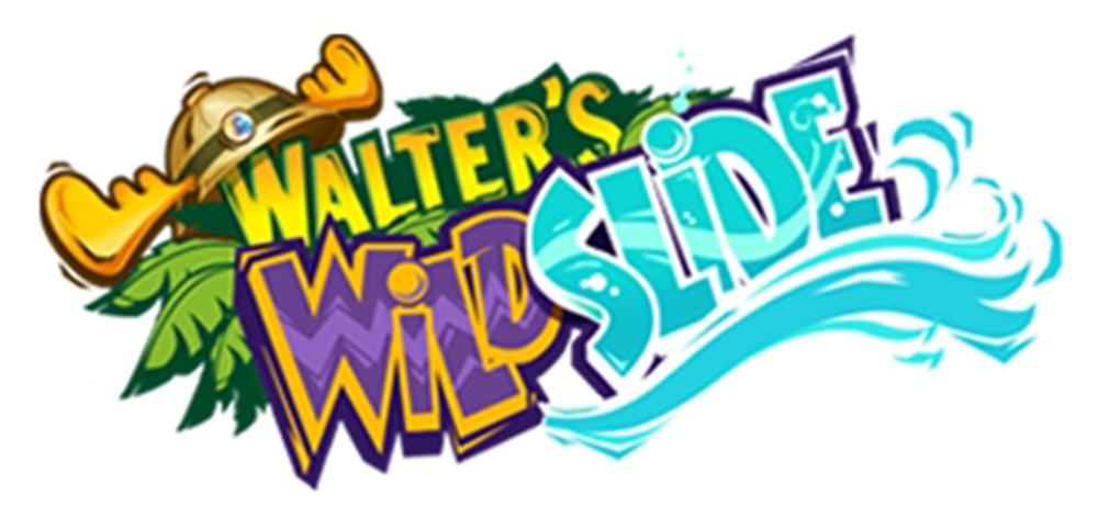 "A logo for Walter's Wild Slide. There is text slanted upwards. ""Walter's"" is in yellow block text outlined in green and surrounded in green tropical leaves. There is a safari explorer hat with a buckle and moose antlers hanging off of the ""W"". The word ""Wild"" is beneath 'Walter's"" and is in purple and yellow block text with chevron stripes running through it. The word ""Slide"" is in blue block text outlined in purple and white and has bubbles and a wave running through it. There are blue waves running underneath it."