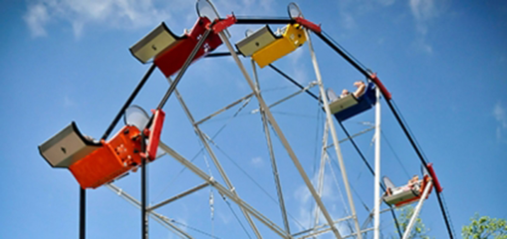 Image of the Ferris Wheel with with blue sky behind it.