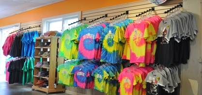Image of tie dyed shirts on the wall at the Paul Bunyan Gift Shop