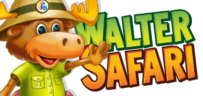 "Promotional image of Walter Safari, a cartoon moose, wearing a green shirt and tan hat waving. Next to him is block text that reads ""WALTER SAFARI"" ion green and orange."