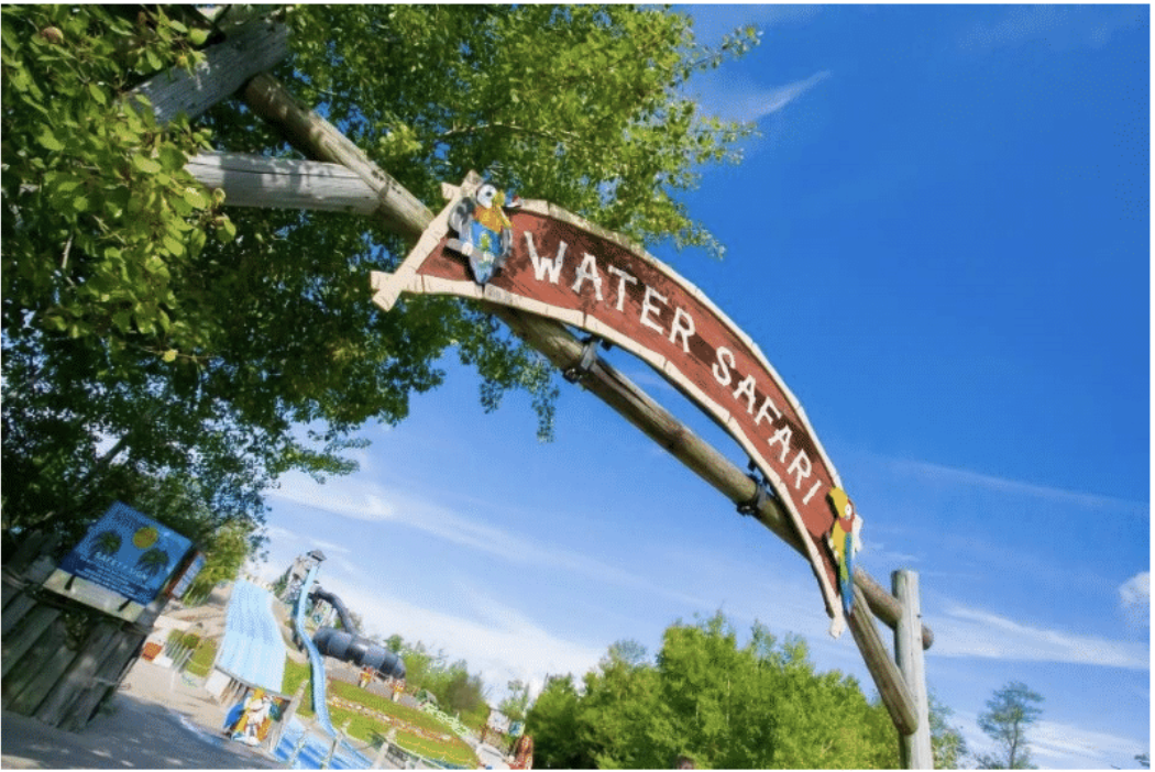 The water Safari sign at the entrance of the park