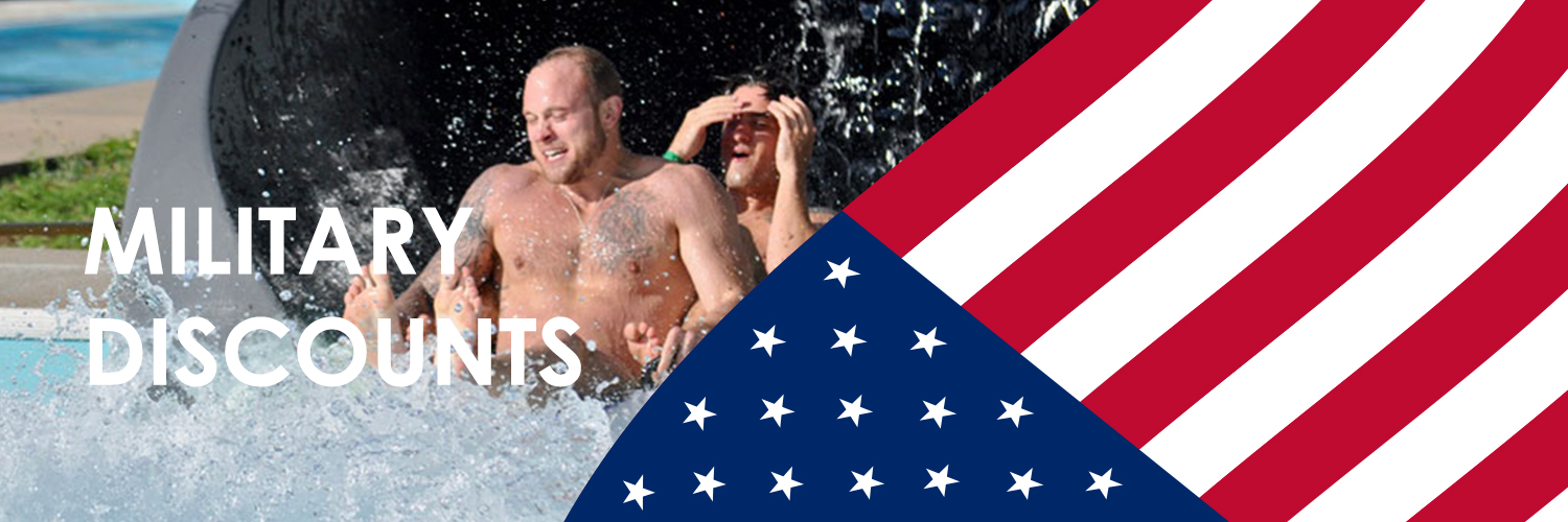 Military discounts written over a picture of two guys coming out of a water slide and the American flag on part off the image